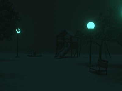 park blender minimalist 3d artist playground bench dark glow park 3d modelling