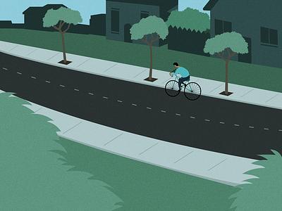 biker houses cyclist biking bike neighborhood road street graphic design art vector drawing illustration