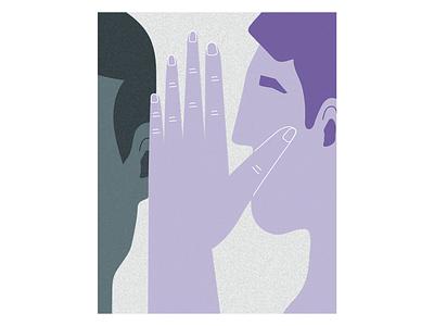 whisper talk gossip whisper hand minimalist graphic art vector doodle drawing illustration
