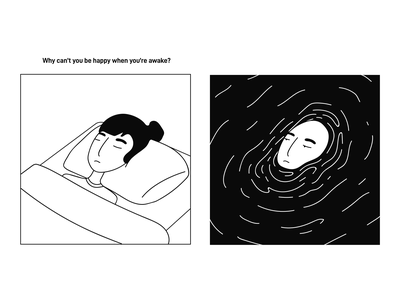 ~ sleep drowning comic design art vector drawing doodle illustration