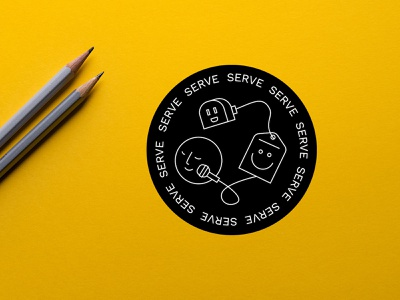 SERVE sticker design happy face vector illustration drawing vector server sticker