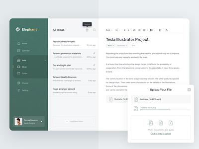 Elephant Notes | website note background、bandcards、ui clean web ui design