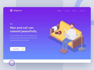 Man and cat cat illustration animation clean web design