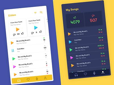 Private Concert - Anonymous singing app ui design custom navbar ui  ux music dark voting singing app