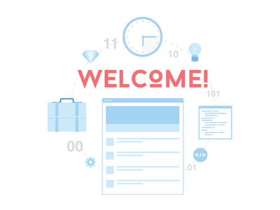 Welcome! save time welcome icons commit code diamond briefcase changeloghq.com vector icon