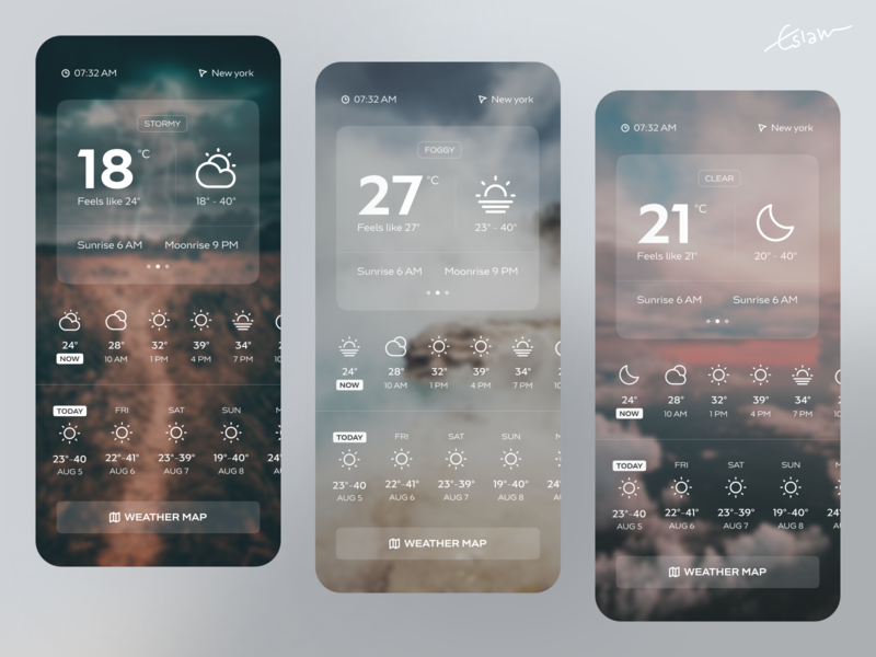 Weather App app design ios app design ux eslam elshereef minimal clean uiux mobile ui weather app