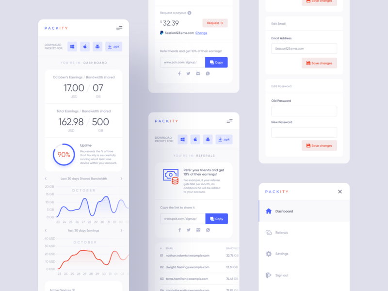 Packity Dashboard Design - Mobile Version minimal clean eslam elshereef easyeze packet streaming internet mobile dashboard ui designer ui design design web design uiux ux ui website design website