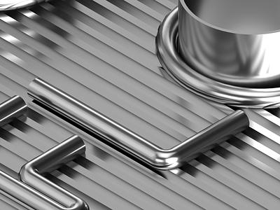 Flow - Modular Clothing Rack System tubularsteel metallic design 3d illustration identity