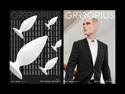 Grrropius Visual Identity graphic design logo bauhaus100 poster design poster identity