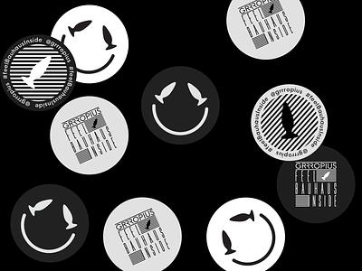 Grrropius Visual Identity stickers stationery design print logo identity