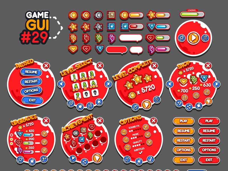 Game GUI #29 red interface yurakr assets unity game development flat gui 2d