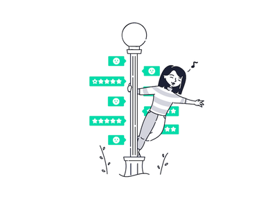 Singing in reviews~ onboarding web illustrator drawing shopping character product illustration