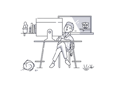 Bland experience experience customer simple line character product illustration