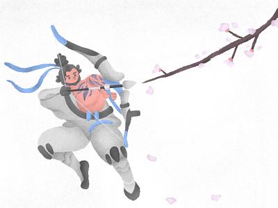 Hanjo character sakura cyborg ninja hanzo illustration overwatch