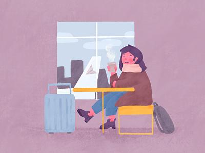 Delayed flight coffee travel simple procreate character illustration