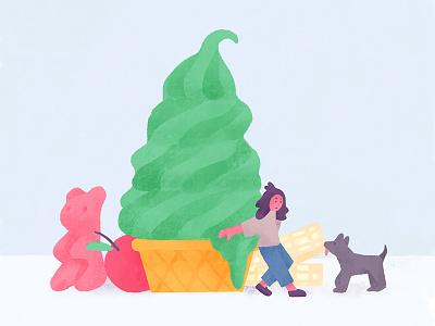 My treats dream poster reward ice cream treat character illustration