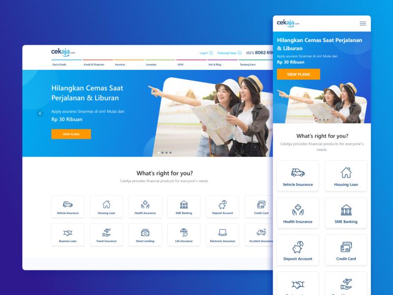 CekAja: Home Page icons cards app responsive design web fintech landing page navigation mobile design finance ux ui