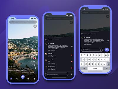 Remush Comment UI material ui ux design ui design video sharing social media social app icon flow userflow nav mobile navigation cards design app ux ui