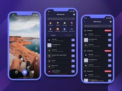 Remush Video Editor UI - Add Song Flow icon design camera uxdesign fluid design flow icon social media list video nav mobile design navigation app ux ui