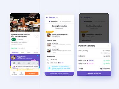 Tempat.com: Booking 🧾 receipt booking restaurant tempat.com mobile cards design app ux ui