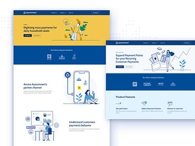 Ayoconnect Website Header Design b2b landing page bill payment navy blue blue web finance illustration ux ui