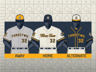 Baseball Uniform Design Template (3·2 Designs) two three box score timeless painting art deco client personal vintage classic branding gold navy jersey baseball hat esports sports uniform design uniform baseball