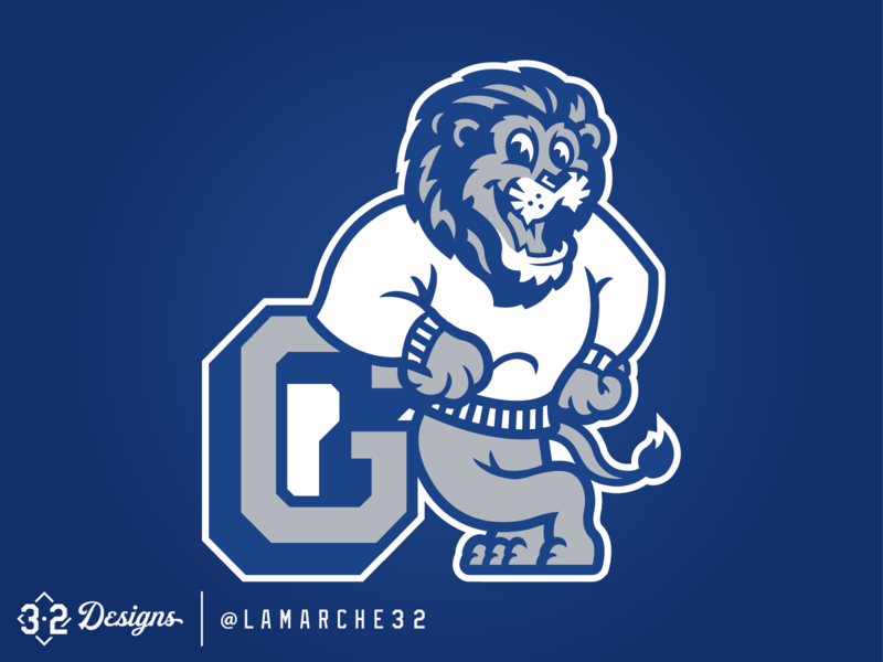 Lions Mascot throwback logo smile grey logodesign school esports sweater mascot sports white blue and white blue lions goddard