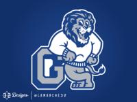 Lions Mascot throwback logo smile grey logodesign school esports sweater mascot sports white blue and white blue lions goddard