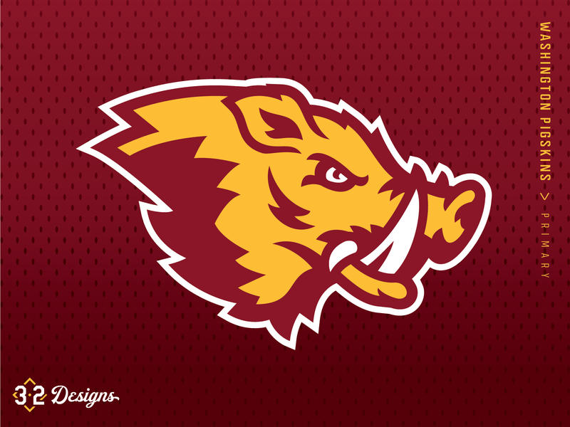 Washington Pigskins (Concept) washington redskins concept rebrand washington dc redwolves redtails logo design sports esports jersey nfl helmet warthog hogs pigs district of columbia dc washington football