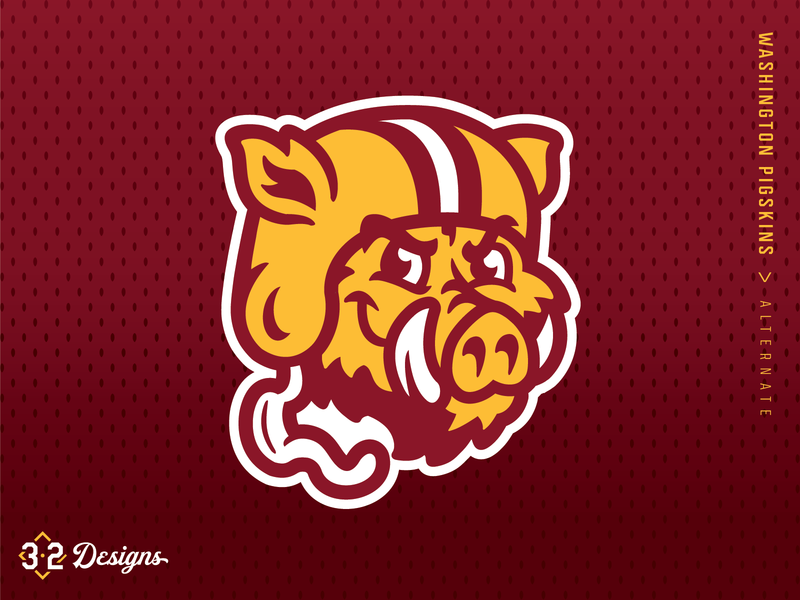 Washington Pigskins Throwback (concept) sports redwolves redtails retro throwback redesign concept gold red washington redskins nfl warthog hogs pig helmet esports football district of columbia washington dc washington