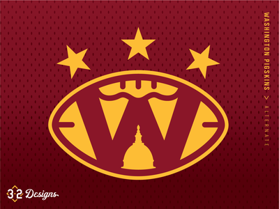 Washington Pigskins Alternate (concept) throwback district of columbia nfl sports logo sports design concept rebrand warthog pig hogs pigskins stars esports jersey helmet football capitol capitals washington dc sports