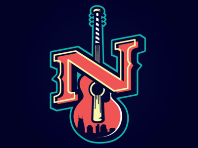 Nashville Honky Tonks batman neon music city illustration sports neon lights guitar milb baseball nashville sounds honky tonks nashville