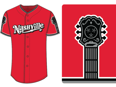 Nashville Sounds Red Alternate Jersey friday tennessee baseball music city guitar red jersey milb nashville sounds sounds nahsville