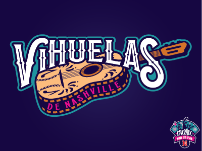 Nashville Vihuelas Primary music city music illustration sports baseball nashville milb copa vihuelas guitar design logo nashville sounds