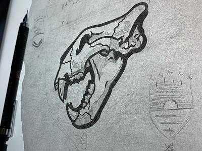 Tiger Skull Sketch sports sketch patch shield generals stars skull army football eisenhower tigers