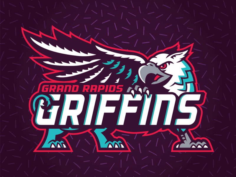 Grand Rapids Griffins - 90's Night Logos ahl logo jersey sports gryphon griffins red wings detroit red teal purple contest tv hockey michigan grand rapids