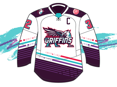 Grand Rapids Griffins - 90's Night Jersey jerseys nhl triangles design logo sports ahl cup red teal purple gryphon contest detroit red wings hockey griffins grand rapids