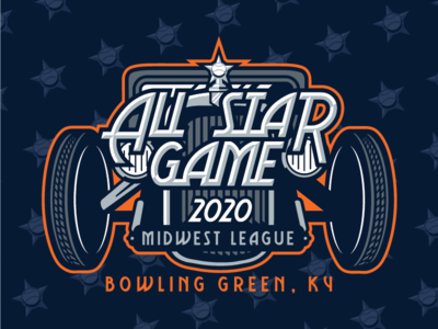 2020 Midwest League All Star Game ornament wheel orange blue kentucky allstar midwest sports logo hot rods bowling green milb baseball