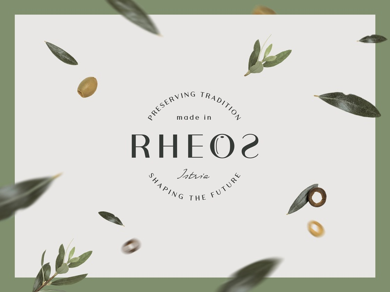 Rheos pt.1 olive oil brand typography badge logo