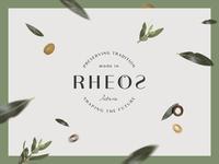 Rheos pt.1 olive oil brand typography badge logo