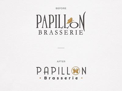 Papillon brasserie brasserie papillon restaurant identity logo butterflies butterfly