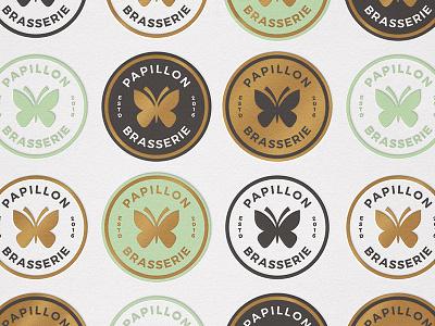Papillon brasserie pt.2 papillon brasserie butterflies butterfly badge