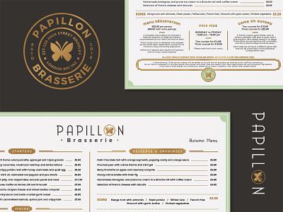 Papillon brasserie pt.3 brasserie badge branding papillon restaurant menu