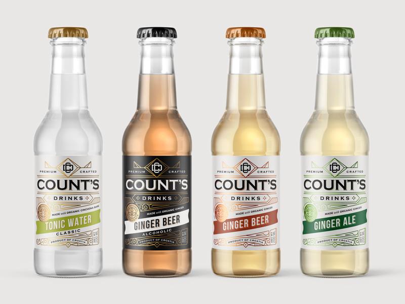 Count's drinks pt.3 craft brewery soft drink tonic water ginger ale ginger beer mockup type typography vintage ornate bottle labeldesign packaging