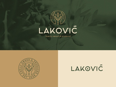 Laković symbol flat  design caring hands olive oil badge brand and identity logomark logo