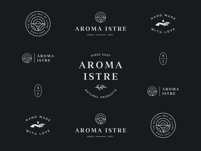 Aroma Istre natural cosmetics hand identity simple minimal logo