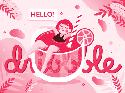 Hello dribbble! firstshot invite hello illustrator minimal icon hellodribbble flat design vector illustration
