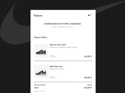 E-mail Receipt • Daily UI 017 invoice product nike sketch receipt email web ui dailyui