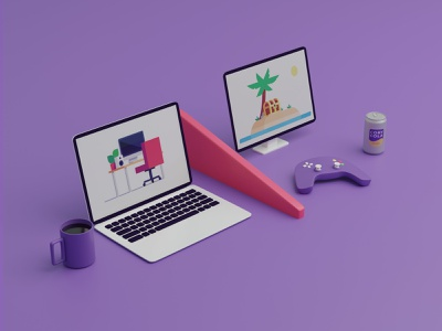 Dividing up your spaces 💼/🎮 podcast featured image soda can game computers coffee cup remote work wfh blender3d 3d