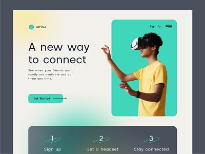 Messh: Make calls in VR app vr hero product page landing page web design website web